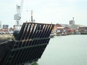 LANDING CRAFT RAMP LOAD TEST, HYDRAULICS SET TO WORK